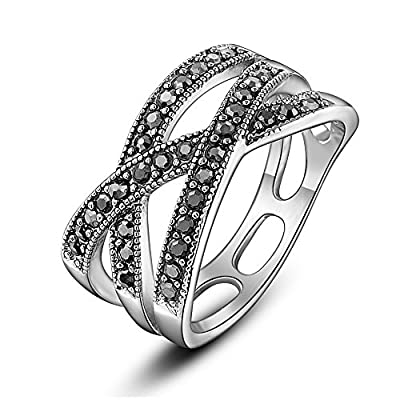Dnswez 10mm Black Marcasite Beaded Criss-Cross Band Ring Silver Tone Statement Ring Size 6-10