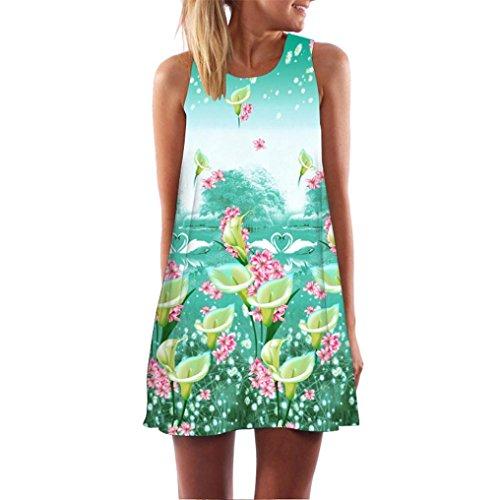 Elecenty Damen Ärmellos Sommerkleid Minikleid Strandkleid Partykleid Mädchen Blumenmuster Kleider Frauen Mode Kleid Kurz Hemdkleid Reizvolle Blusekleid Kleidung Cocktailkleid (L, Grün80)