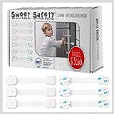 Sweet Safety® Baby Schubladensicherungen – Bombenfest – TÜV Schadstoff geprüft – Kindersicherung zum Kleben für Schränke und Schubladen – 6 Stück