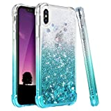 Ruky iPhone X Case, iPhone Xs Case, Gradient Quicksand Series Glitter Flowing Liquid Floating TPU Bumper Cushion Reinforced Corners Girls Women Phone Case for iPhone X Xs 5.8 inches, Gradient Teal