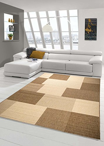 Teppich Modern Flachgewebe Kariert Sisal Optik Küchenteppich Küchenläufer Karo Design Braun Beige Größe 120x170 cm
