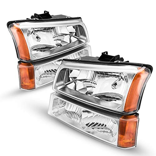 KAC Headlight Housing for Replacement Headlight Assembly for 2003-06 Silverado 1500/1500HD/2500/2500HD/3500, OE# 15199557 / 10396913 / 10396912 / 15199556