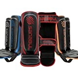 Sanabul Essential Hook and Loop Strap Kickboxing Muay Thai MMA Shin Guards (Red, S/M)