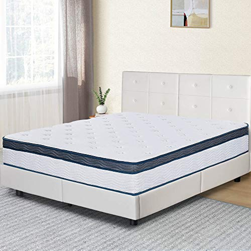 Olee Sleep 12 Inch Euro Top Gel Memory Foam Spring Hybrid Mattress Full, Mid Night, Mattress in a Box, CertiPUR-US Certified, Full