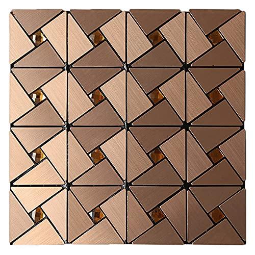 SZBLYY Pegatinas baldosas Autoadhesivo Metal Backsplash Pegatina de azulejo Peel de Aluminio y Palillos Pegatinas de Pared Cocina Cuarto de baño Mosaico Decoración