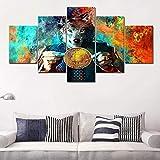 YTFOPLK Cuadros de Arte de Pared Lienzo Modular decoración del hogar 5 Piezas Pintura de Bitcoins HD Impreso en Color Abstracto Marco de Cartel de moneda-150CM * 80CM