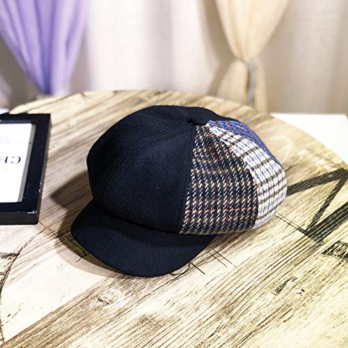 Hut Female Peaked Cap Herbst und Winter All-Match Woolen Plaid Octagonal Hat Peaked Newsboy Hut British Retro Beret Painter Hut