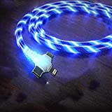 Right Angle 90 Degree 3 in 1 Multi USB Cable, 3.3ft Blue Shining Led Flowing Light Up Festival Party Cute Cool Charger Cable Compatible with Type C,Micro USB Android IOS Tablets/Samsung Galaxy/Googles