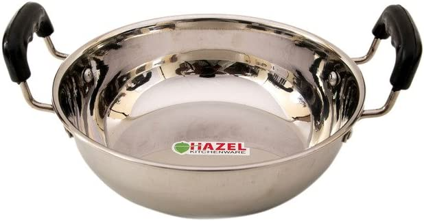 Hazel Stainless Steel Kadai with New products world's highest quality popular litres Silver Handle Limited time trial price 1.3
