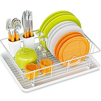 Dish Drying Rack Ace Teah Small Dish Rack Drainer with Drain Board for Kitchen Counter White