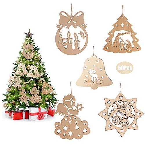 50Pcs Adornos Colgantes de Madera Navidad Adornos,Arbol Navidad Madera con Cordele,5 Estilos Colgantes de Madera para Árbol para Navidad para Bbricolaje Manualidades Decoraciones de árbol de Navidad
