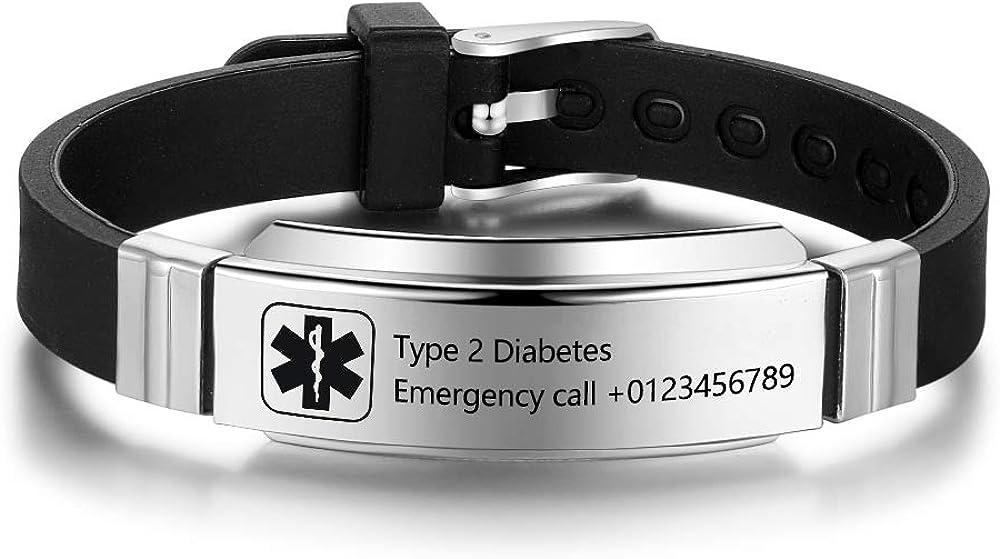 Personalized Medical Alert Bracelets for Men Women Sport Emergency ID Bracelets Adjustable Stainless Steel Diabetic ID Bracelets Band for Boys