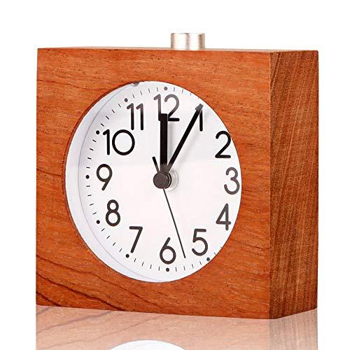 Despertador despertar Creatividad estudiante mudo electrónico cabeza de madera sólida con luz de noche cuadrado nogal