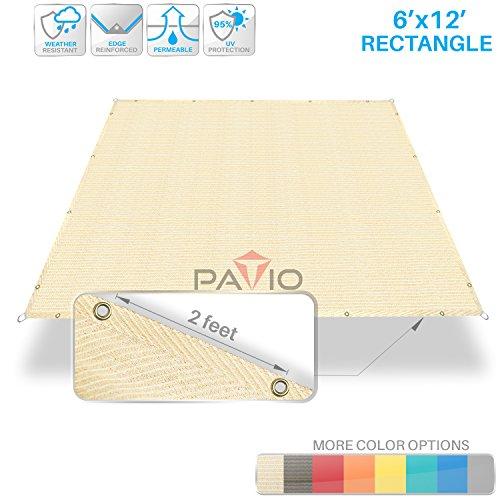 Patio Paradise 6' x 12' Straight Edge Sun Shade Sail, Beige Rectangle Outdoor Shade Cloth Pergola Cover UV Block Fabric - Custom 3 Year Warrenty