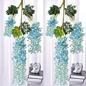 Qingriver 24 Pcs 110 cm Artificial Wisteria Flowers Garland Hanging Flowers for Wedding Home Decor (Blue)