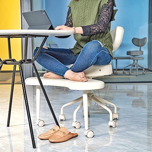 Pipersong Asiento de meditación, silla de escritorio ergonómica de oficina en el hogar, silla de piernas cruzadas con soporte lumbar, altura del asiento ajustable, marfil