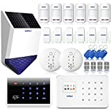 KERUI G18 Wireless Home Alarm System Security GSM Transmission with Indoor and Outdoor Siren, Wireless Solar Outdoor Outdoor Siren with Strobe Flash