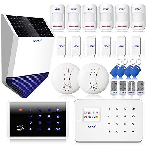 KERUI G18 Sécurité système Alarme de Maison sans Fil Transmission GSM avec Sirène Intérieure et Extérieure, Sirène Extérieure Externe Solaire sans Fil avec Flash Stroboscope