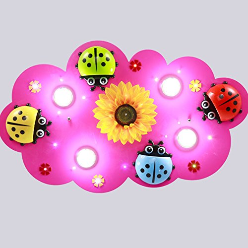 owow simple moderne salle pour enfants merveilleux et refroidir LED Cartoon De Bois sept étoiles ladybugs plafonnier pour les garçons ou filles séjour Décoration plein d'imagination, 800 * 520 * 100 mm