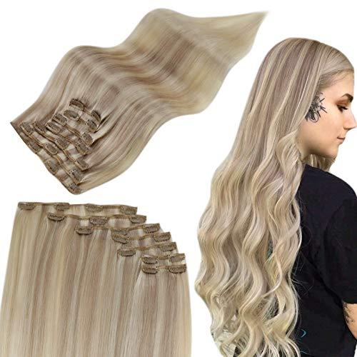 Easyouth Clip in Hair Extensions Human Hair Colorés Couleur Blonde Cendrée à Blonde Claire et Blonde la plus Blanche Extensions a Clip Cheveux Naturel