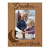 KATE POSH - Grandma I Love You to the Moon and Back Engraved Natural Wood Picture Frame, Mother's Day Gifts for Grandma, Birthday Gifts for Grandmother, Best Grandma Ever (4x6-Vertical)