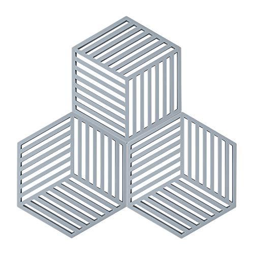 Coomazy 3pcs Untersetzer für Heiße Töpfe und Pfannen, Sillicone Topf Inhaber Pads auch für Küche Löffel Sich ausruhen Matte (Hexagon-Stripe: 160x138x8mm, Grau)