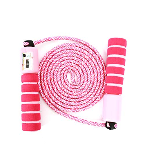 Sportplay Springseil für Kinder, integrierter Zähler, verstellbar, Kabel für Fitness, Boxen, Crossfit, Gym, Double Unders, bonbon-rosa