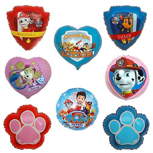 SUNSK Paw Dog Patrol Globos Foil Cumpleaño Corazón Balloons Decorar Redondo Fiestas Suministros Party Decoración Niños Regalo 8 Piezas