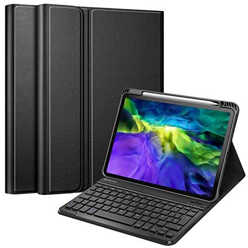 Fintie Funda con Teclado Español Ñ para iPad Air 4 10,9' 2020/iPad Pro 11' 2020/2018 con Soporte Integrado para Pencil - [Admite Carga de Pencil 2.ª Gen] TPU Suave y Teclado Desmontable, Negro