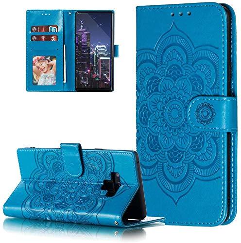 HMTECH Galaxy Note 9 Hülle,Für Samsung Galaxy Note 9 Handyhülle Prägung Mandala-Blume Flip Hülle PU Leder Cover Magnet Schutzhülle Tasche Ständer Handytasche für Samsung Galaxy Note 9,LD Mandala Blue