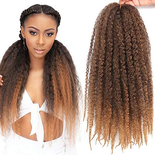3 Packs 18 Inch Marley Braiding Hair Marley Braid Crochet Hair Long Afro Kinky Marley Braids Crochet Braids Synthetic Fiber (T27#)