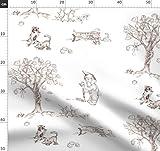 Wald, Lebewesen, Zwerg, Kaninchen, Waschbär Stoffe -
