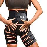 HLOMOM 3 in 1 Oberschenkelschneider Butt Lifter Shapewear Hüftgurt, Bauchweggürtel, Fitnessgürtel, Neoprene Fitness Gürtel Abnehmen Taillentrainer Oberschenkelbandage (S-M)