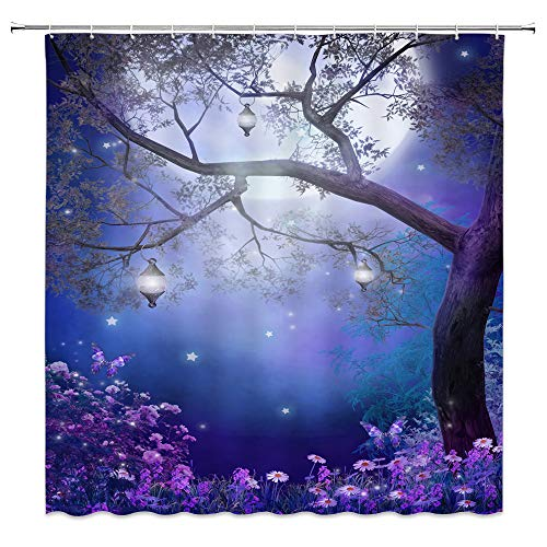 AMNYSF Fantasy Fairy Forest Shower Curtain Colorful Flower Butterfly Tree Lanterns Moon Nature Night Scenery Foggy Wonderland Decor Fabric Bathroom Curtains,Waterproof Polyester Hooks 70x70 Inch