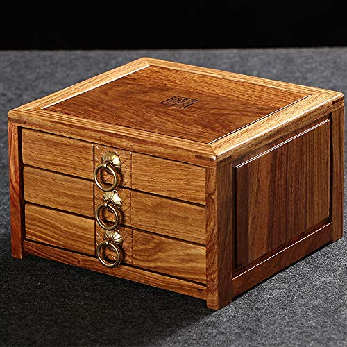 Check Out This Tea Box African Rosewood Three-layer Pu'er Tea Box Solid Wood Kung Fu Tea Set Tea Cer...