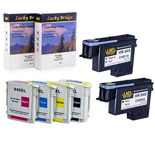Lucky Bridge HP940 Druckkopf C4900A, C4901A, wiederaufbereiteter Druckkopf und 1 Set 940 940XL Tintenpatrone mit Chip, kompatibel mit HP Officejet (1 Set Druckkopf und Tintenpatrone)
