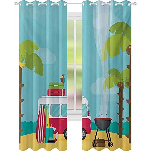 Cortinas opacas para dormitorio, caravana con barbacoa y tablas de surf, playa tropical, plátano, cocoteros, 52 x 72, cortinas de bloqueo de luz, para guardería, multicolor