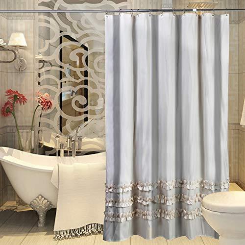 WWWWW Douchegordijn met lace-stof, dikte, waterdicht, douchegordijn, scheidingswand, grijs, douchegordijn