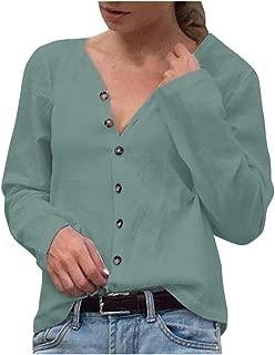 ?COOlCCI?Womens Button Down V Neck Shirts Long Sleeve Blouse Casual Top T-Shirt Work Pullover Sweatshirt Tees Tunic