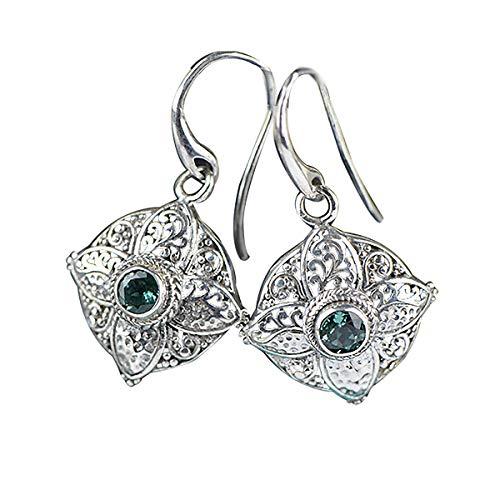 Lotus Fun S925 Sterling Silber Ohrringe Thai Silber Barock Retro Grüner Kristall Ohrringe Temperament Handgemachter Schmuck für Frauen und Mädchen