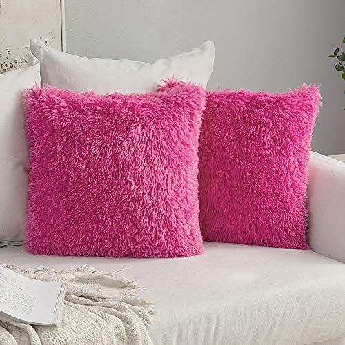 MIULEE Pack of 2 Luxury Faux Fur Throw Pillow Cover Deluxe Decorative Plush Pillow Case Cushion Cover Shell for Sofa Bedroom Car 16 x 16 Inch Hot Pink