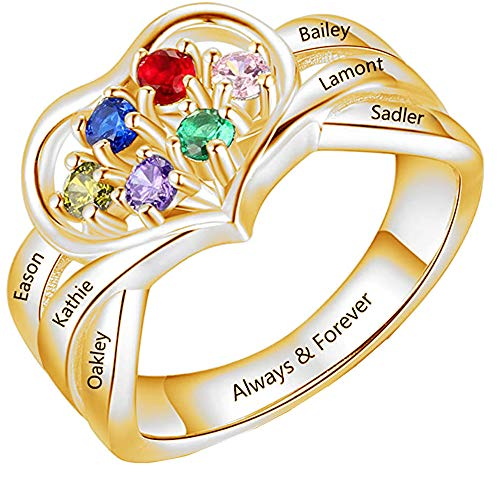 Custom 1-6 Name Charm Family Ring Personalized Birthstone Mom Silver Ring Birthday Mother's Day Anniversary Valentine's Day Ideal for Women Gold3 P 1/2