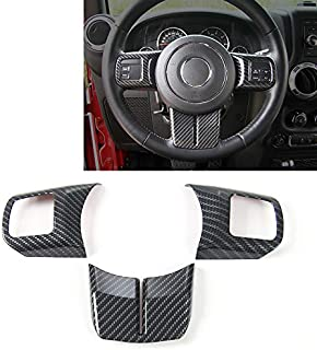 JeCar Interior Steering Wheel Decoration Trim Kits For Jeep Wrangler 2011-2017 JK Unlimited Patriot Compass & Grand Cherokee 2011-2013 (Carbon fiber texture)