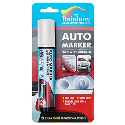 LARGE WHITE AUTO MARKER - REMOVABLE PAINT FOR AUTO BODY PANELS AND WINDSCREENS