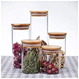 FASEY 5 Piezas Transparente sellada Cereal los tarros de Cristal de la Cocina dispensador de Grano contenedor de Almacenamiento de bambú con la Cubierta for el té café Caramelo Especia