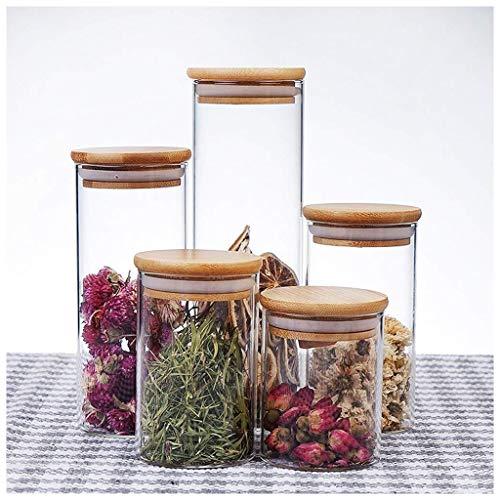 FASEY Copertura 5 Pezzi Trasparente Sealed Cereali vasi di Vetro da Cucina Dispenser Granaio Contenitore con bambù for tè e caffè, spezie Candy (Size : 85mm(5 Sets))