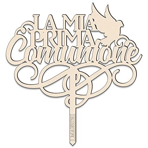 Cake topper La mia Prima Comunione con COLOMBA L 18 cm in legno – I MAESTRI Made in Italy