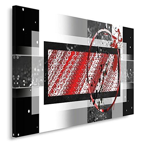 Feeby. Tableau Déco - 1 Partie - 80x120 cm, Impression sur Toile Décoration Murale Image Imprimée, Abstrait, Noir, Rouge