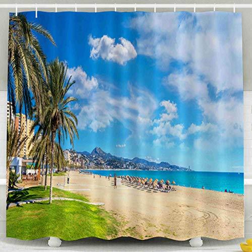 N\A Cortina de Ducha para niños, Juego de Cortina de Ducha con Ganchos, Vista panorámica de la Playa en España Málaga Costa del Sol Andalucía Decoración Impermeable Baño