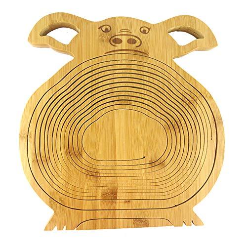 SADA72 Cesta Plegable con Forma de Animal, Cesta de bambú para Fruta y Tabla de Cortar de Madera, Cerdo, Tamaño Libre
